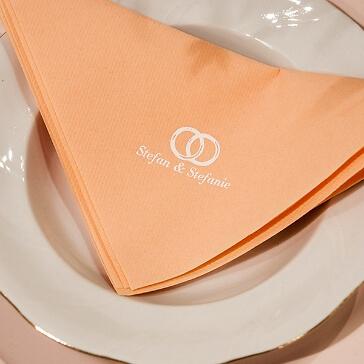 Serviette Airland Dinner mit Eheringen und Namen