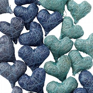 Sisalherzen Dekoration Deko Hochzeitsdeko blau