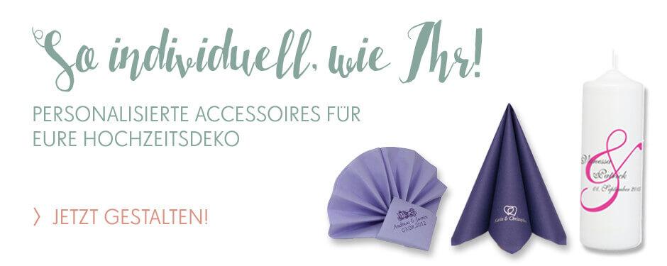 Personalisierte Accessoires für die Hochzeitsdeko