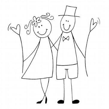 Stempel Glückliches Brautpaar