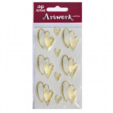 Sticker Art Work Goldene Herzen für kreative Hochzeitskarten