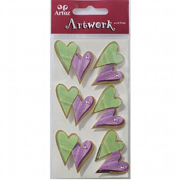 Motiv-Sticker für die Hochzeit von Artoz farbige Herzen