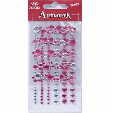 Motiv-Sticker von Artoz Kristallherzen rosa
