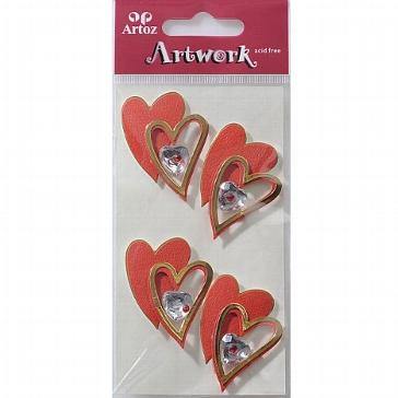 """Motiv-Sticker für die Hochzeit von Artoz """"rot-goldene Herzen"""""""