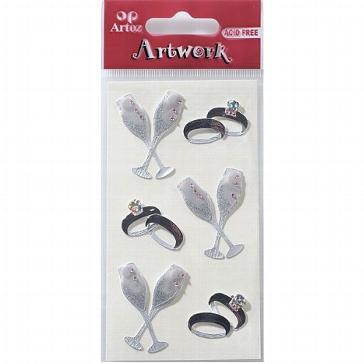 Motiv-Sticker für die Hochzeit von Artoz mit Eheringen und Gläsern