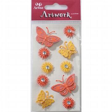 """Motiv-Sticker von Artoz """"rote und gelbe Schmetterlinge"""""""