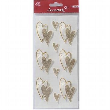 """Motiv-Sticker zur Hochzeit von Artoz """"Herzen in Gold"""""""