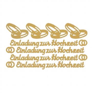 """Einladungskarten gestalten - Sticker """"Einladung zur Hochzeit"""" in Gold"""