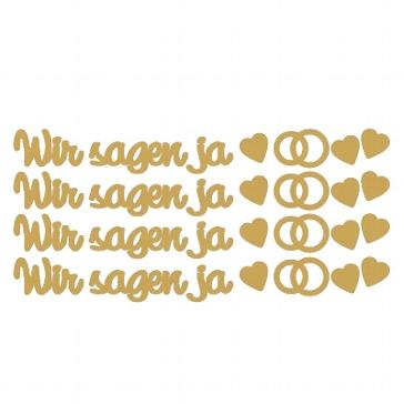 """Hochzeitskarten gestalten - Sticker """"Wir sagen ja"""" gold"""
