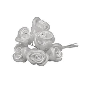 Stoffblume in Weiß mit Strass