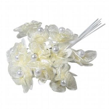 Stoffblumen Perlröschen creme - für Bastelideen zur Hochzeit