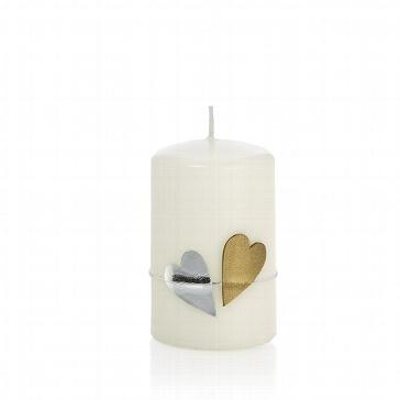 Kerze weiß mit Herzmotiv in Silber und Gold