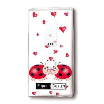 """Taschentücher """"Ladybird"""" - Taschentuch mit Marienkäfern und Herzen"""