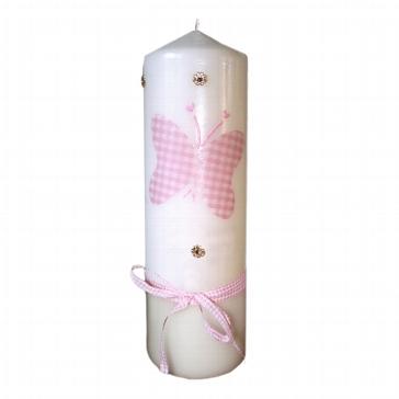 Kerze mit rosa Schmetterling zur Taufe