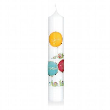 Kerze zur Geburt oder Taufe mit Ballons und Schnecken