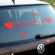 Autoaufkleber Just married, gerade, rot