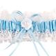 Strumpfband Romantik, weiß/ blau