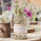Deko-Glas Hochzeit Vintage mit Jute und Spitze