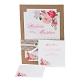 Hochzeitseinladung Fleur, rosa, Kraftpapier