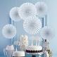 Hängedeko Hochzeit Rosetten Fächer mit Blüten, dekoriert