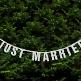 Glitzer Hochzeitsgirlande Just Married, silber