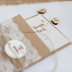 Einladungskarte Hochzeit Mia Kraftpapier mit Spitze und Juteband, Klappkarte