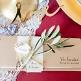 Hochzeitseinladung Amelie Kraftpapier mit Banderole und Blätter Motiv