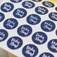 30 Sticker Vielen Dank, weiß, dunkelblau, 4 cm