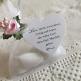 Gastgeschenk Säckchen in Weiß mit rosa Blüte