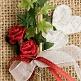 Hochzeitsanstecker Doppelherz, weinrot-weiß, Deko