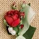 Hochzeitsanstecker Rosen, rot, Deko