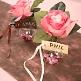 Schild zum Beschriften mit Satinband in Pflaume zur Hochzeit - Dekobeispie