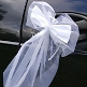 Tüllschleife in Weiß für das Brautauto