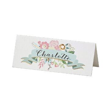 Tischkarten zur Hochzeit mit Blütenprint
