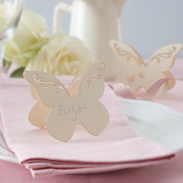 """Tischkarten """"Schmetterling"""" - creme als Tischdeko"""