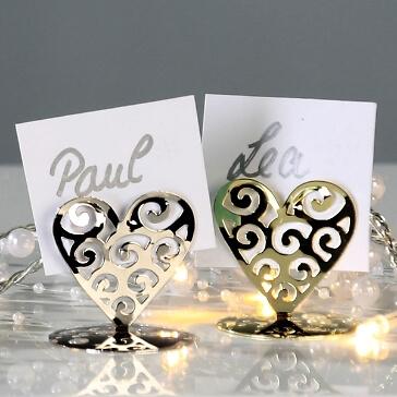 Tischkartenhalter Hochzeit - Herz mit Onramenten