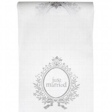 Tischläufer Just married in weiß zur Hochzeit