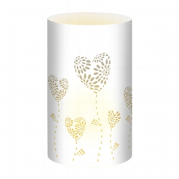 Tischlichter Herzblumen, weiß, 5 St. - weißes Tischlicht