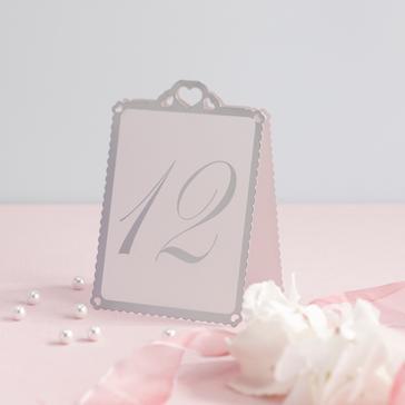Tischnummern Herzen (silber - weiß)