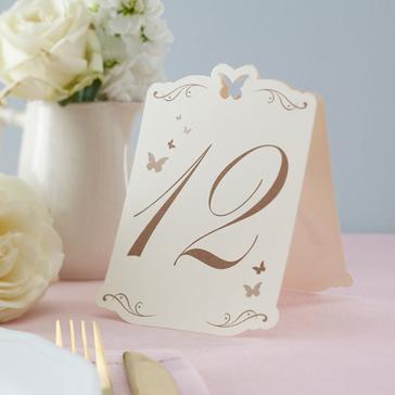 Tischnummern in creme (Schmetterling) - dekoriert