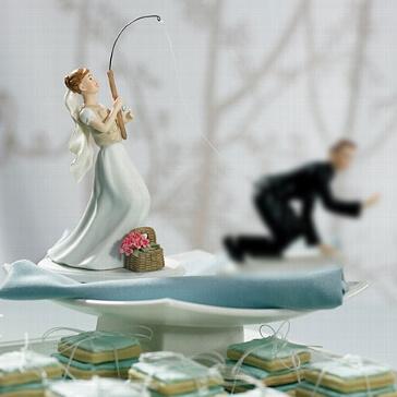 Tortenfigur Braut mit Angel