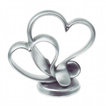 Tortendeko Figur silberfarbene Herzen für die Hochzeit