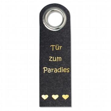 """Türhänger """"Tür zum Paradies"""" aus anthrazitfarbenem Filz"""