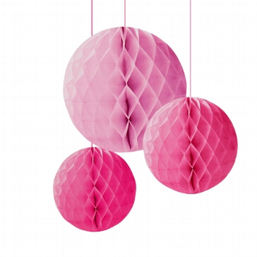 Wabenbälle pink als Hochzeitsdekoration