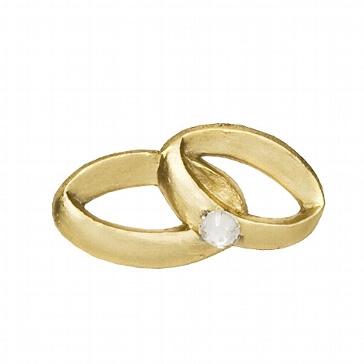 """Wachsornament """"Eheringe"""", gold für Hochzeitskerzen"""