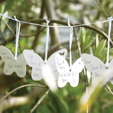 """Wedding Wishes """"Schmetterling"""" weiss - Gästebuch Alternative"""
