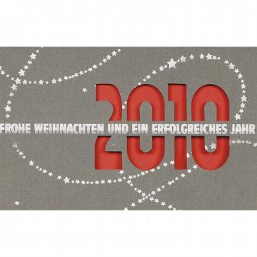 """Weihnachtskarte """"2010"""", silbergrau"""