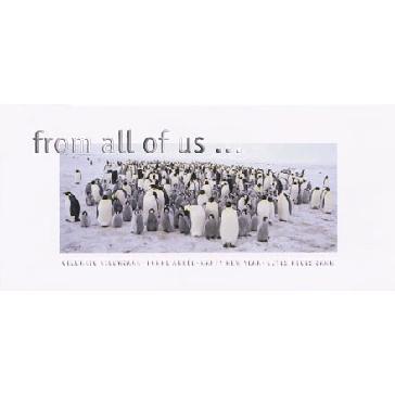 """Weihnachtskarte """"From all of us"""" - Weihnachtskarte mit Pinguinen"""