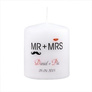 Gastgeschenk Kerze zur Hochzeit Moustache