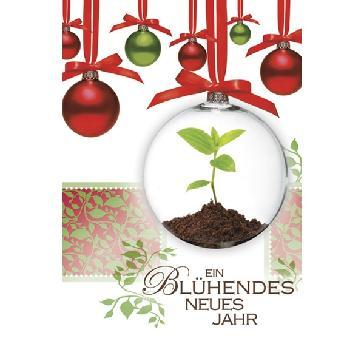 """Weihnachtskarte """"Blühendes Jahr"""" - Weihnachtskugel mit Pflanze darin"""